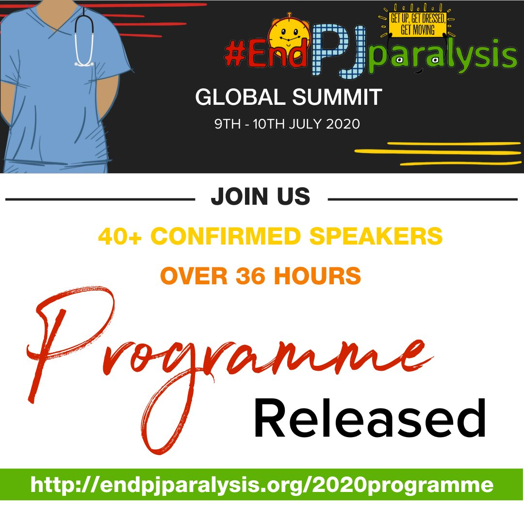 We are just a few days away from this years #EndPJparalysis global summit and we have just released the full programme for you to download. You can download here: buff.ly/3gAN2V0 We start 8am (BST) this Thursday so register now: buff.ly/2NHEJug
