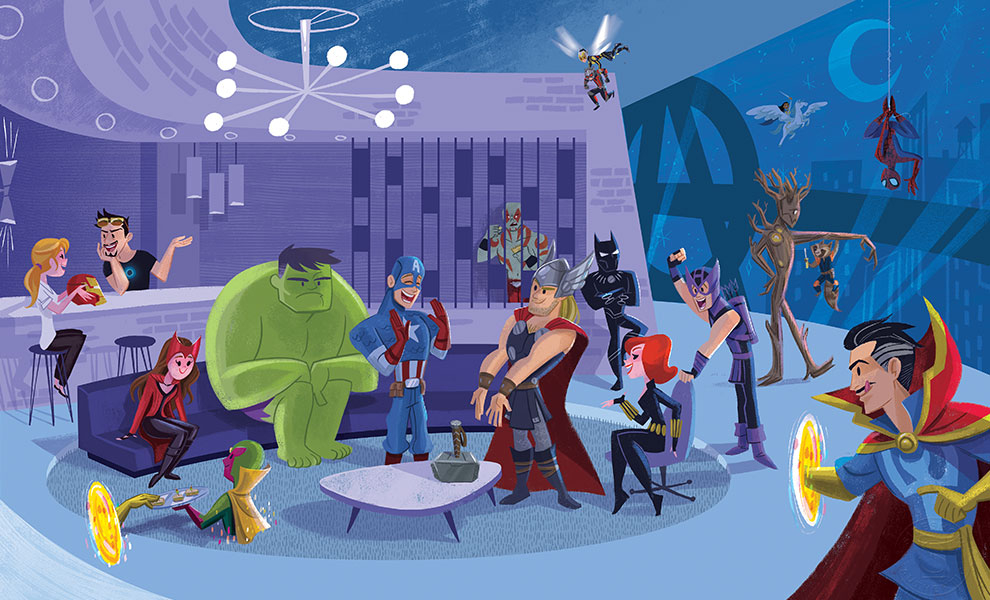 Party time at Avengers Tower looks like loads of fun!  Credit to Kat Hudson (@kathudsonart)  #avengers #marvel #partytime #mcu #kathudson https://t.co/DYMhsPjvEH