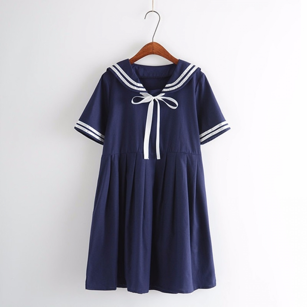 #fun #accs #outside Cotton Women's Sailor Dress in Blue and White