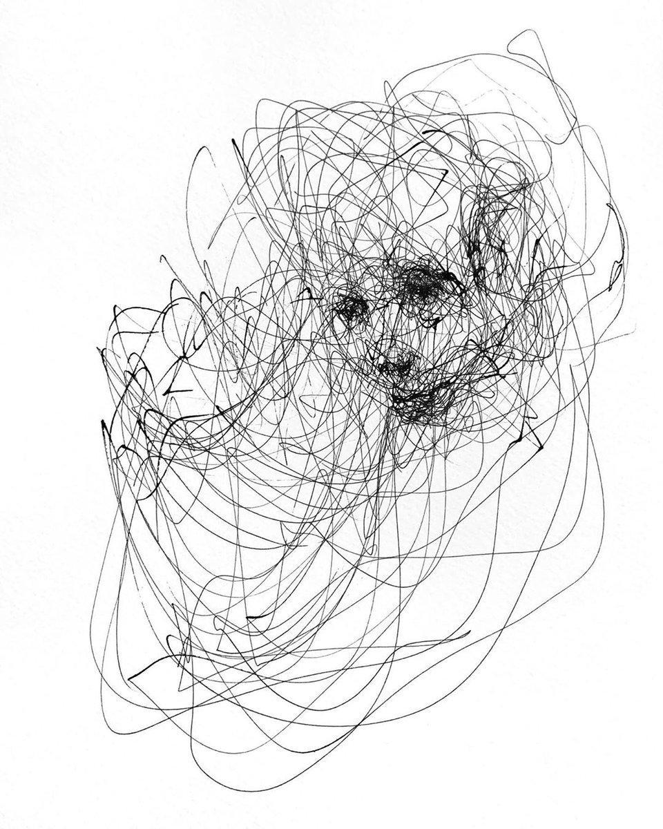 @adamrichesart Ballpoint pen on paper 29.7 x 21 cm. My work is available from @nadiaarnoldltd  #ballpoint #pen #chaos #blackandwhite #drawing