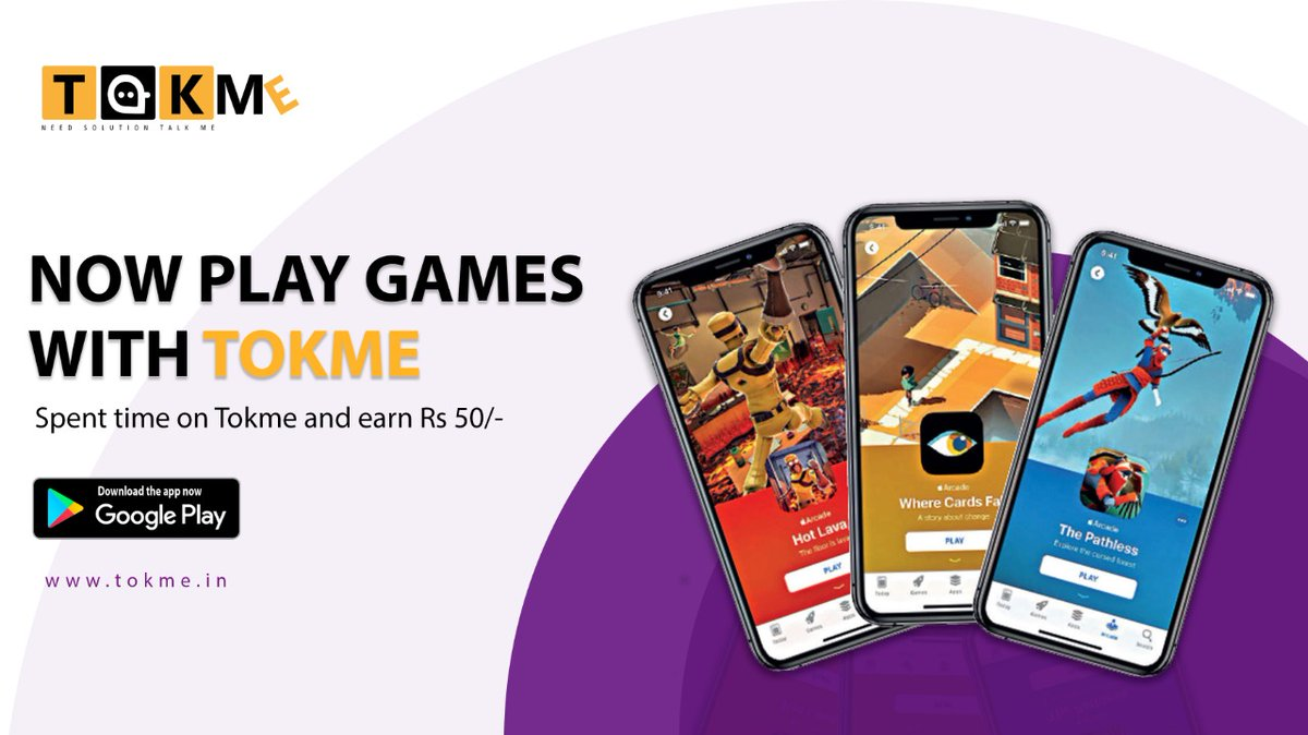 Spend time on TOKME and earn money upto Rs. 50 daily.  #Tokme #Playgames #Fun #Entertainment #Earnmoney #Stayhealthy #Staysafe #COVID19
