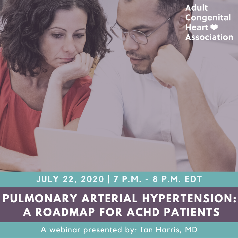 Are you a #CHD patient who has pulmonary arterial hypertension (#PAH) or are concerned about your risk of developing it? Join #ACHA and Dr. Ian Harris for a webinar and Q&A session on July 22.   Register: https://t.co/tN8cbstOzy   #ACHACares #CHDCare4Life #ACHD @PHAssociation https://t.co/dUmtNxNzeh