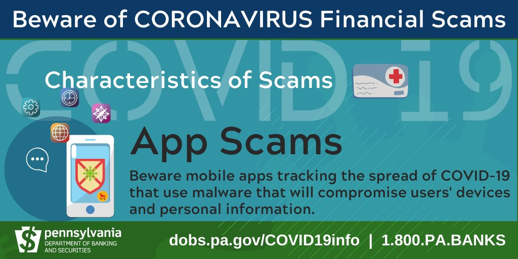 Scammers are creating mobile apps designed to track the spread of COVID-19 that will compromise users' devices and personal information. Find tips on protecting your smart- phone from phony apps. https://t.co/RjxJPowkou https://t.co/HiFZOwHeck
