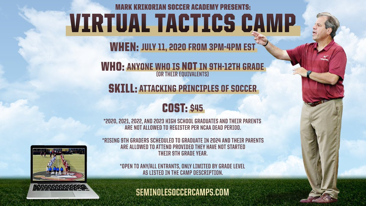 """""""Our Virtual Tactics Camp is a great opportunity for young athletes and coaches of any skill level.""""  🗓 July 11, 2020 ⌚️ 3-4pm EST 💻 via Zoom ⚽️ Attacking Principles of Soccer  REGISTER HERE NOW⤵️ https://t.co/4b5OmhERqQ https://t.co/gVtUu5lfvF"""