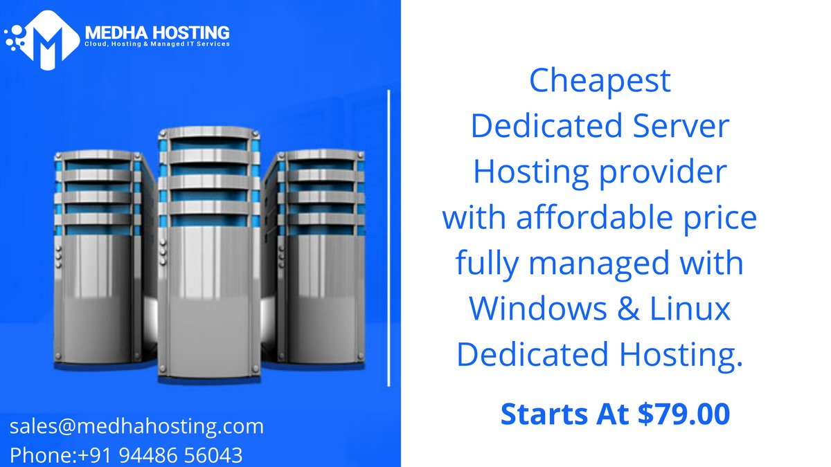 Cheapest Dedicated Server Hosting provider with affordable price fully managed with Windows & Linux Dedicated Hosting. Get Started with 79.99 $ per month.  Reach us: http://bit.ly/2wy5bBn   #dedicatedhosting #website #webdevelopment #webhosting #server #technologytrends pic.twitter.com/jZwPVbt5Fg