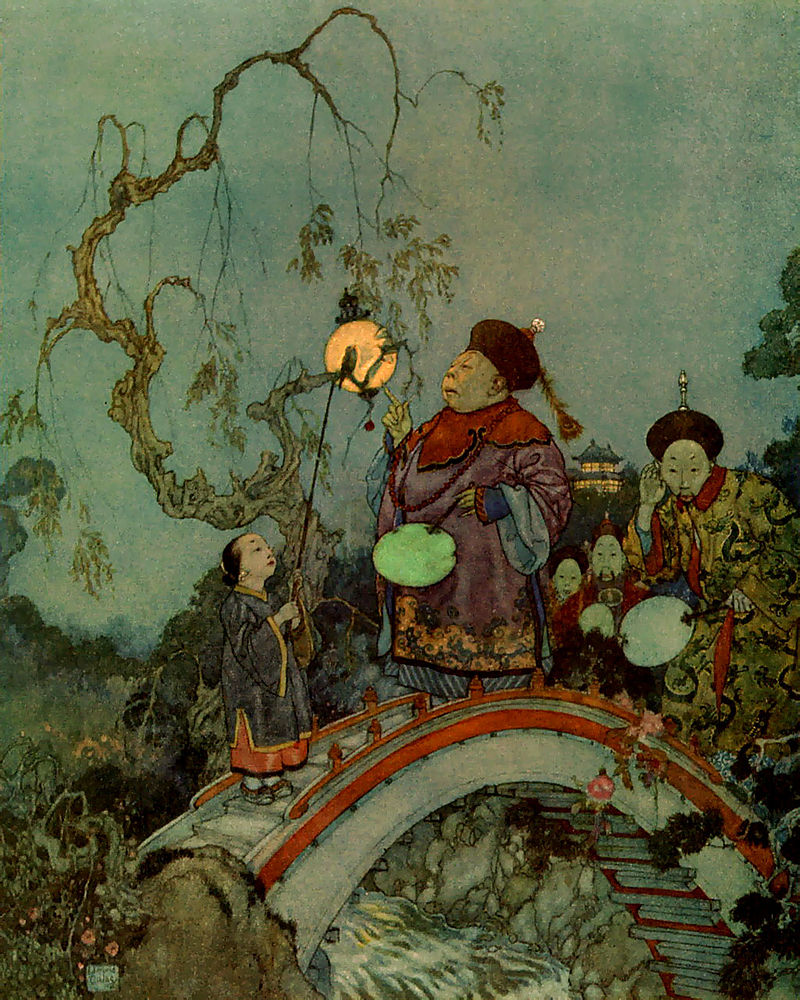 """The Nightingale"" by HC Andersen  An emperor prefers the tinkling of a bejeweled mechanical bird to the song of a real nightingale. When he is near death, it is the nightingale's song that restores his health showing things of value are not always gold. Dulac #FairyTaleTuesday pic.twitter.com/B2euGAr5gT"