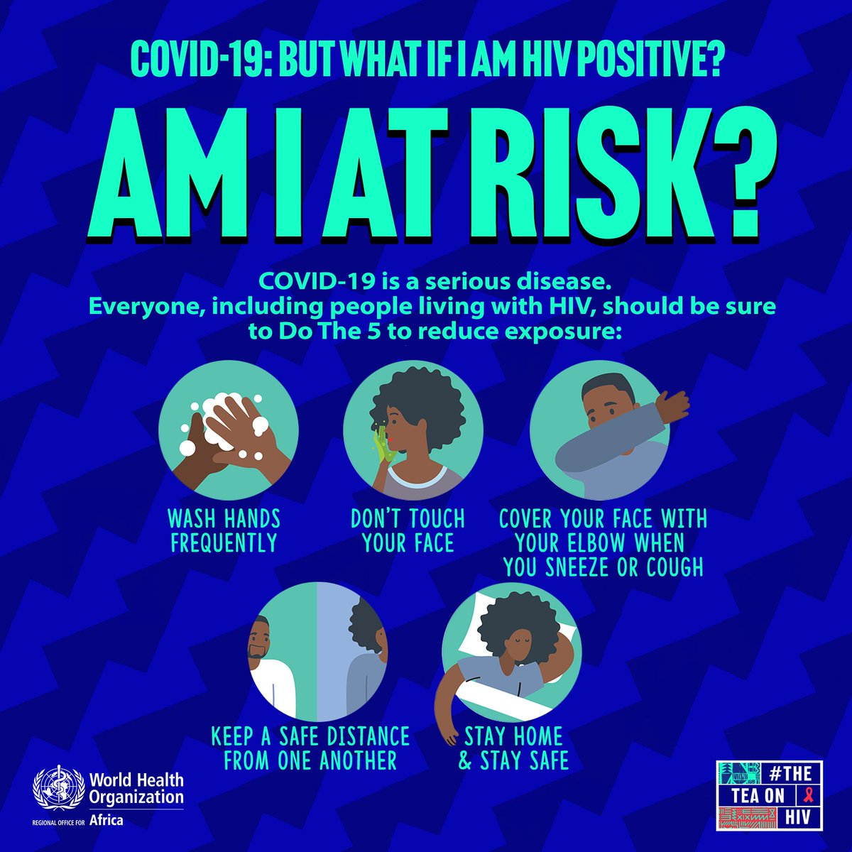 Q&A: The vast majority of people living with #HIV live in #Africa, are they at a greater risk from #COVID19?  ✅It is unknown if #HIV increases the risk of COVID-19, but it's important to take precautions to reduce exposure to the virus. #AIDS2020Virtual  https://t.co/BiVMp4N7j3 https://t.co/hYSlXDtVP7