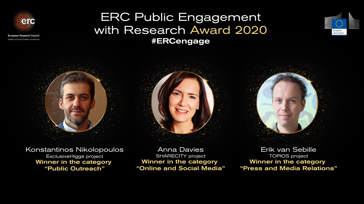 Missed the #ERCengage award ceremony? Here is the recap: The winners are: 🏆 Anna Davies @tcddublin 🏆 Erik Van Sebille @UniUtrecht 🏆 Kontantinos Nikolopoulos @unibirmingham  Congratulations!  Learn more about the winning entries: https://t.co/ZW1FDYnY5Z  🇪🇺#EUfunded #scicomm https://t.co/XWEUIEnpnz