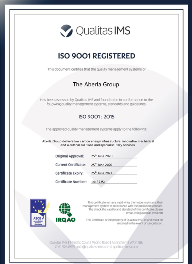 Aberla is delighted to announce we have been #awarded our ISO 9001 Quality Management System Certificate!  This #accreditation recognises the consistent quality of the policies, procedures and processes implemented at Aberla!  #northernpowerhouse #ourteam #innovation #iso9001 https://t.co/dEAlpIYdTG