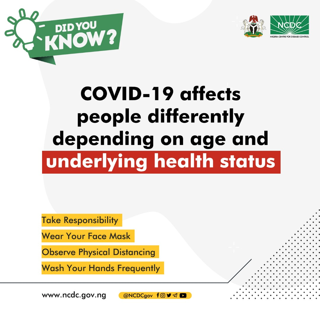 #COVID19 affects people differently based on age and underlying health status. The person you infect might not be so lucky.   Do your part to protect others - wear a face mask in public spaces, maintain physical distancing, practice hand & respiratory hygiene  #TakeResponsibility https://t.co/C944itVG8M