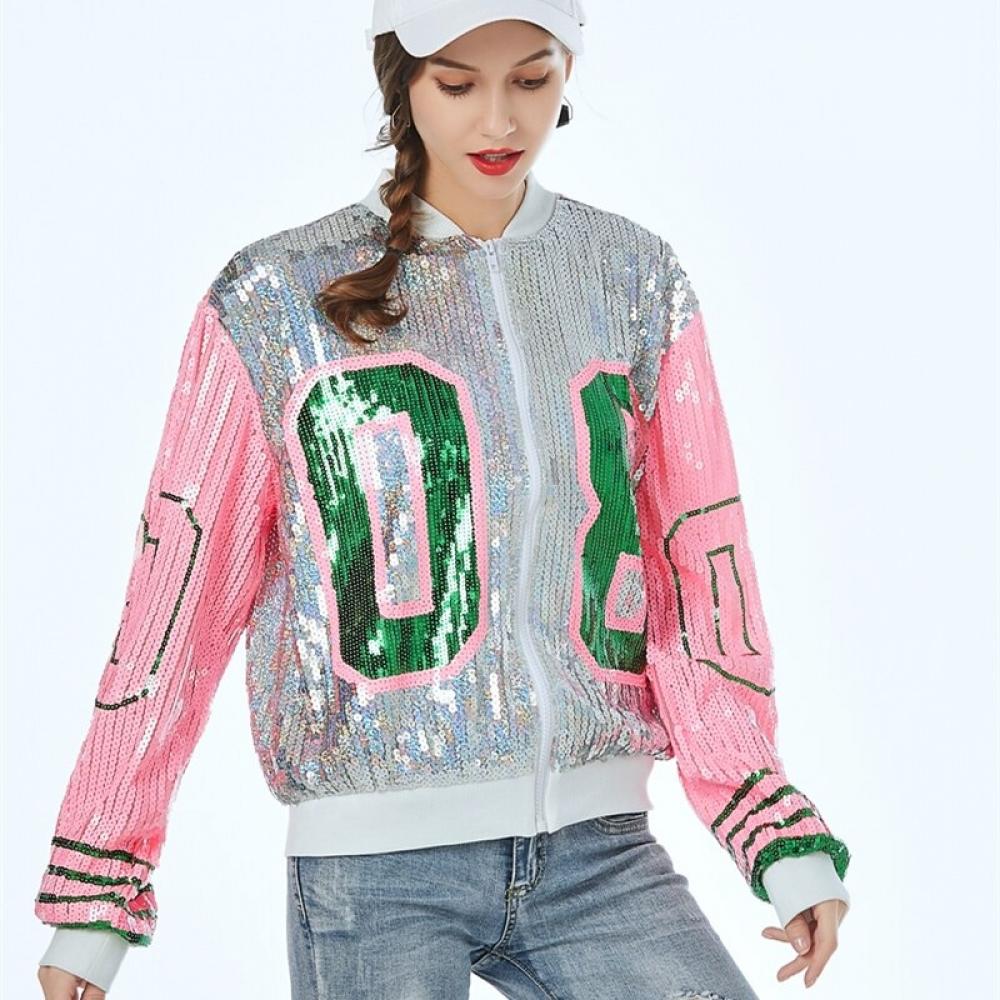 Women's Retro Style Sequined Bomber Jacket #igers #tagsforlikes