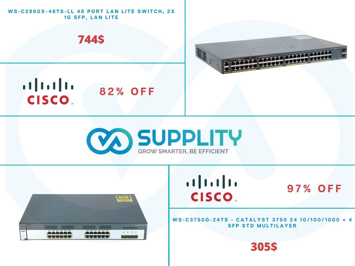 New #Cisco #Switches Available now on http://Supplity.com    WS-C3750G-24TS-S and WS-C2960X-48TS-LL  #technologynews  for more details email us on sales@supplity.com pic.twitter.com/YQUdVadVlk