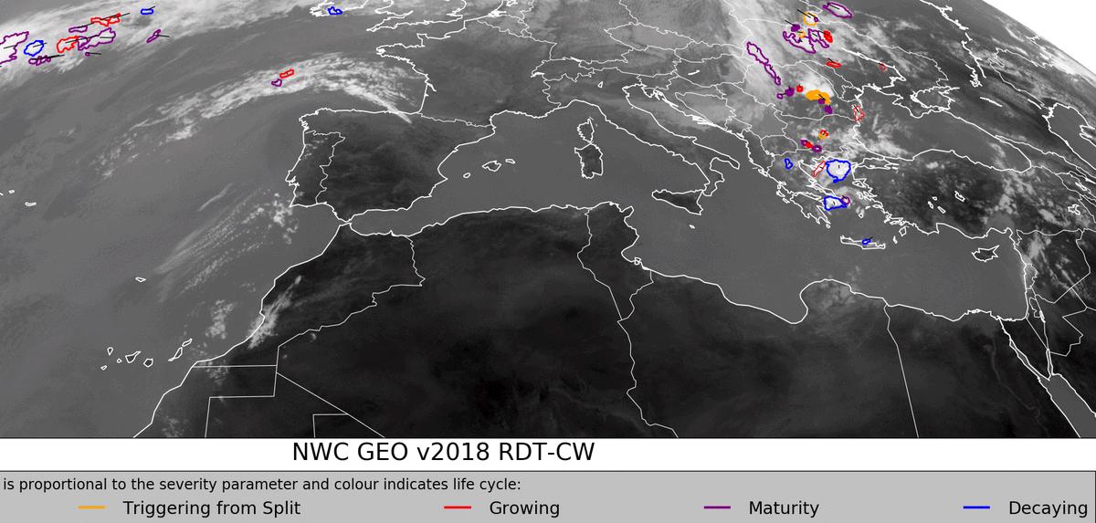 Υπάρχει τάση εξασθένησης των καταιγίδων για την επόμενη ώρα (μόνο) με βάση τα SAF του Eumetsat @OSISAF @eumetsat