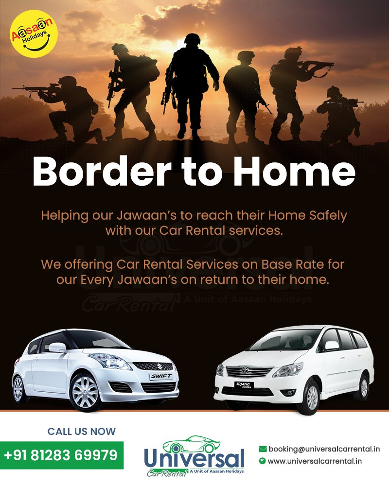 We salute #Indian flag and Indian #warriors...who have dedicated their entire life for the nation. . We are offering Car Rental services on base rate for our every jawaan's return to their home. . Call on 81283 69979 or visit https://t.co/ERUQhDq9gG https://t.co/W7HMsyVAcO