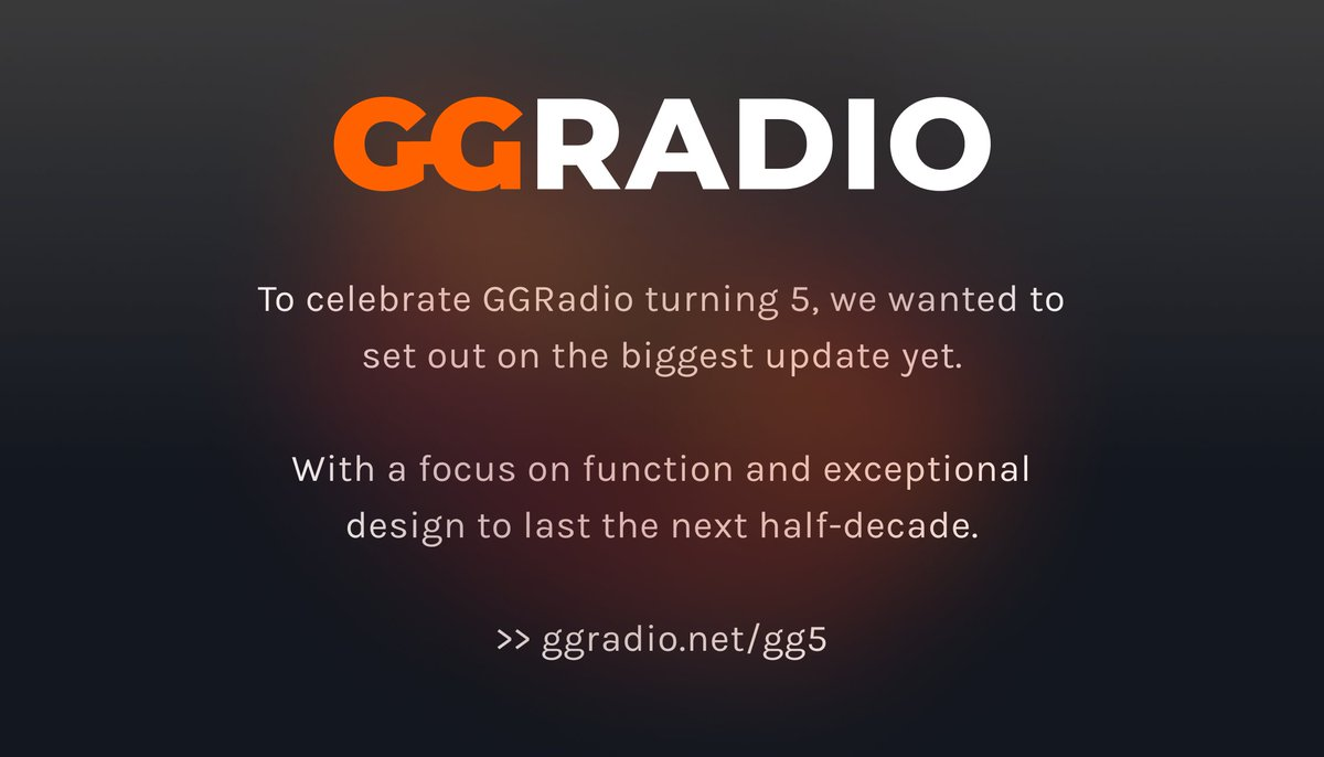 After months of work, we're launching GGRadio 5 today! 🥳  ▶ https://t.co/suXoME5UKN https://t.co/rtFAn8KnZO