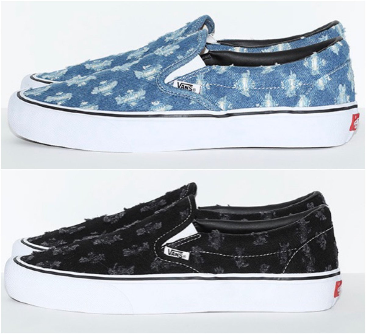 """Supreme/Vans """"Hole Punch Denim""""  Slip On Pro $98 Sk8-Hi Pro $110  Releasing this Thursday, July 9th. After seeing the official images which model is your favorite?"""