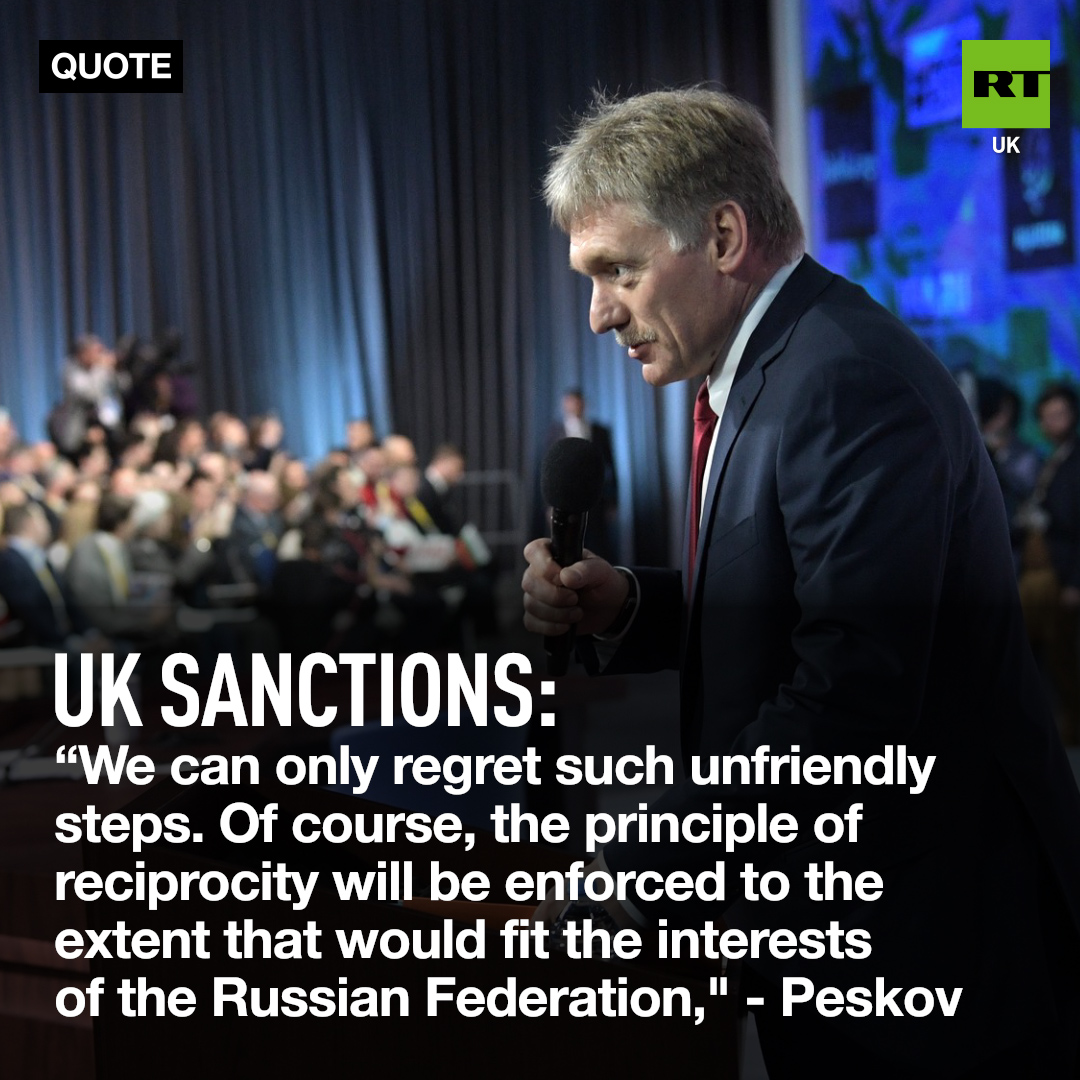 #Russia will retaliate to the UK's post-Brexit sanction regime, which directly targeted a number of Russian individuals - #Kremlin Spokesman Dmitry Peskov said Tuesday. pic.twitter.com/i1UMiQt2iC