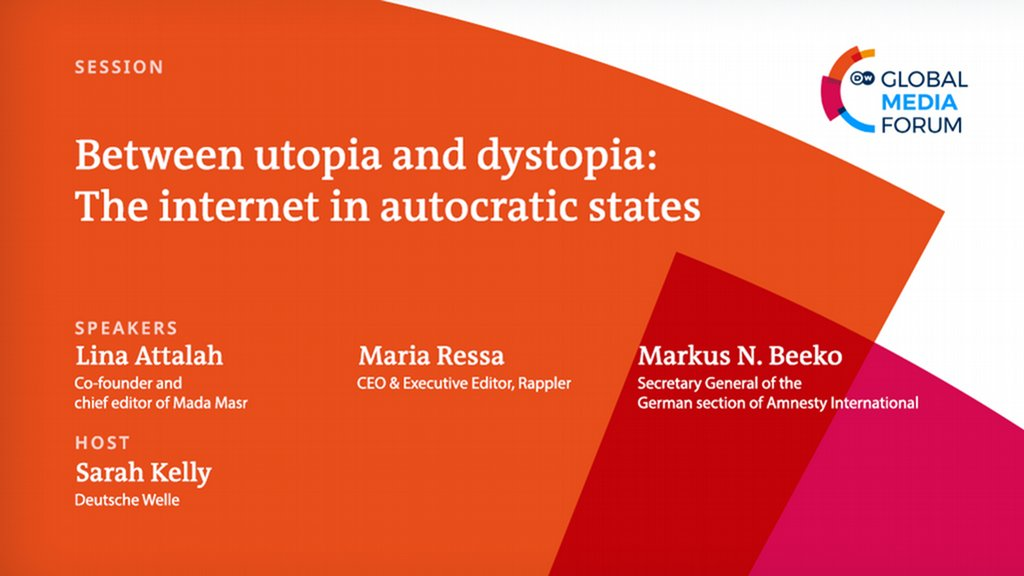 Join the second virtual session of @dw_gmf 2020 on the role of digital platforms in autocratic states with journalist @Linaattalah, @mariaressa @rapplerdotcom and Secretary General @amnesty_de @mnbeeko. Hosted by @SarahKellyTV on July 8 at 2.30 p.m. CET: bit.ly/2DcpyHn