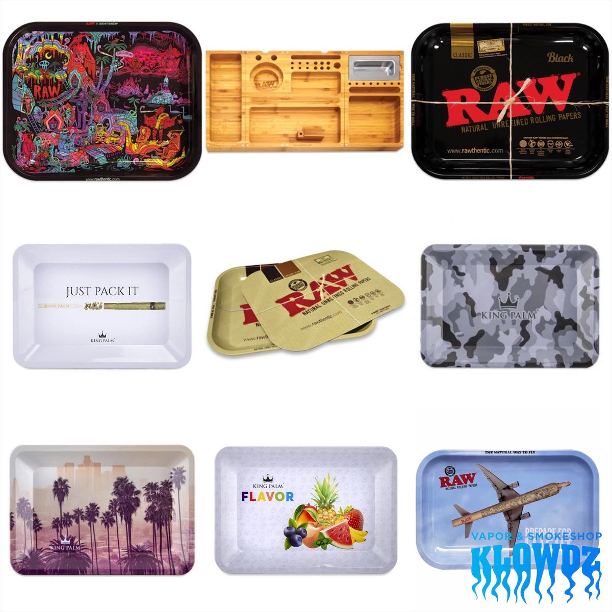 Major restock and lots of new RAW and King Palm rolling trays!  #mckinneytx #mckinneytexas #smoke #kush #420 #weshouldsmoke #dabs #smoker #420lyfe #glassart #smokeshop #dablife #concentrates #dabstagram #bongs #glasspipes #bongrips #vape #vapor #vapefam #vapestagrampic.twitter.com/hkRO35m0mY – at KLOWDZ Vapor & Smokeshop