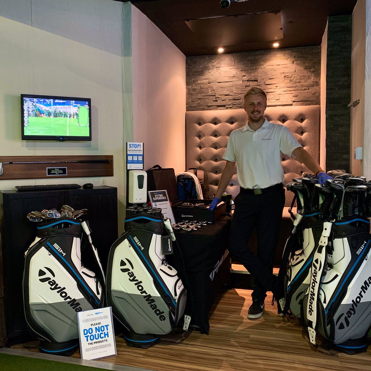 Great to have TaylorMade in store today for a Fully Booked Fitting Event. TM Lee pictured in store, set up ready for Custom Fitting and with our Large Fitting Studio social distancing can easily be adhered to.