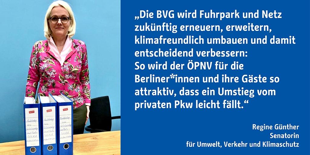 Neue Fahrzeuge, mehr Strecken, dichtere Takte: Berlins ÖPNV steht vor einer neuen Ära der Investitionen. Auf Vorlage von Verkehrssenatorin @RegineGuenther hat der Senat heute den neuen BVG-Verkehrsvertrag beschlossen.   Zur Pressemeldung: https://t.co/Ka6m5hKJYK  #berlinunterwegs https://t.co/hB3l92zVdC