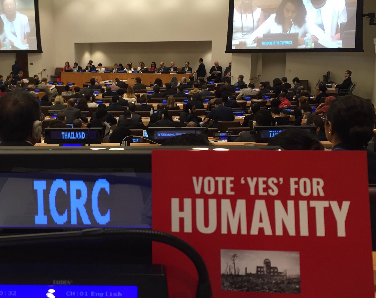 Three years ago #OTD at the #UN 122 States adopted the Treaty on the Prohibition of Nuclear Weapons #TPNW  @ICRC & @ifrc welcomed this historic achievement  75 yrs since atomic bombs decimated #Hiroshima & #Nagasaki all States should join #NuclearBan #IHL @nuclearban @ICRC_jp https://t.co/eWZHSV49hc