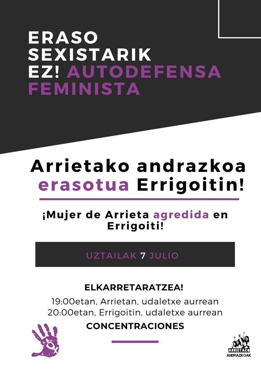 ERASO SEXISTARIK EZ!  AUTODEFENTSA FEMINISTA https://t.co/lx1yRL9PZm