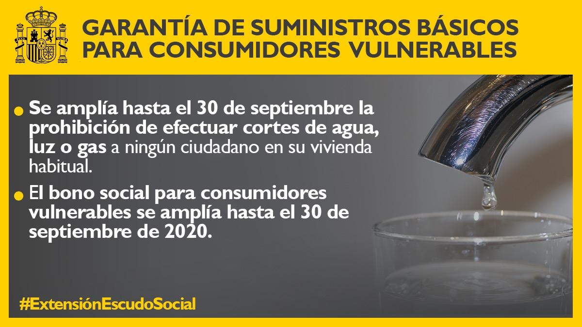 También se amplía hasta el 30 de septiembre:  5⃣El bono social de consumidores vulnerables, con el fin de homogeneizar los periodos de cobertura.  6⃣La garantía de suministros de agua y energía a consumidores domésticos en vivienda habitual.  #ExtensiónEscudoSocial https://t.co/9cMjy7nVz5
