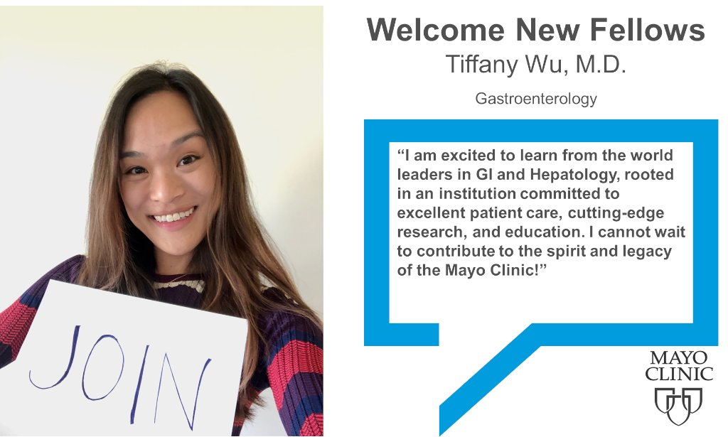 Welcome @TiffanyWuMD to the @MayoClinic Gastroenterology Fellowship program in Rochester, Minnesota. This is why she is excited to train at Mayo Clinic. #Classof2023 https://t.co/u0lCVnt57g