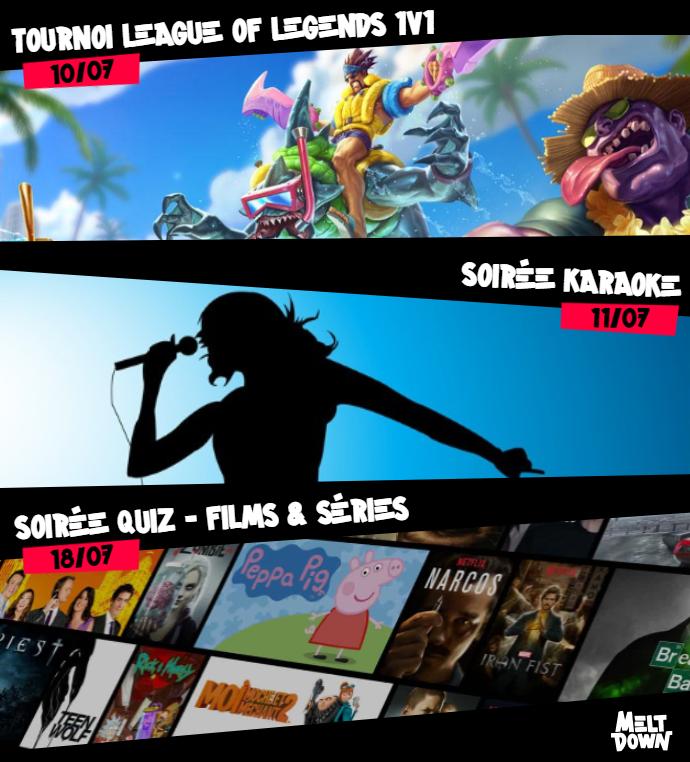 📌#Soon™️ dans votre Melt' !📌  #Tournoi sur #LeagueOfLegends, le retour de la soirée #Karaoke, une Soirée #Quiz sur les films et les séries...  Tous nos évents ici ➡️https://t.co/oEnnnhzEOW  #drinks #bar #party #geek #gaming #Marseille https://t.co/euBc6ex69L