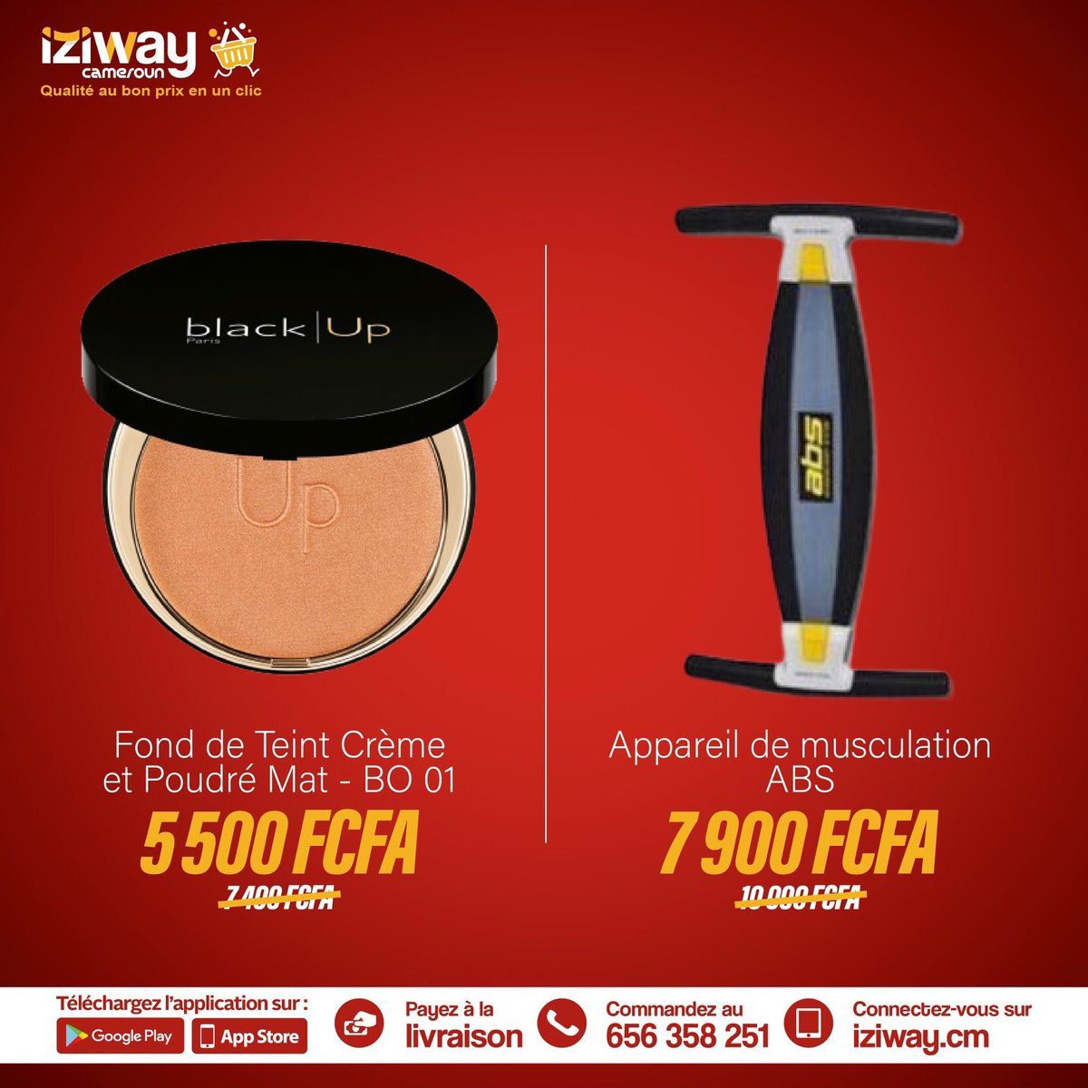 Soyez beaux à petit prix e selectionnant le produit de votre choix:   🔵 Fond de Teint Crème et Poudré Mat   🔵 Appareil de musculation abdominal  👩💻Whatsapp:  #iziwaycameroun #beaute #beauty