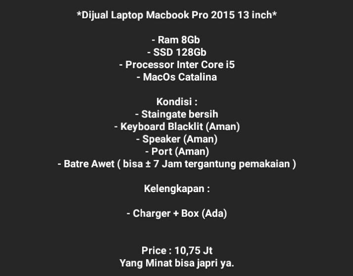 *Dijual Laptop Macbook Pro 2015 13 inch*  - Spesifikasi seperti dibawah ya : https://t.co/LfqPO95vnW