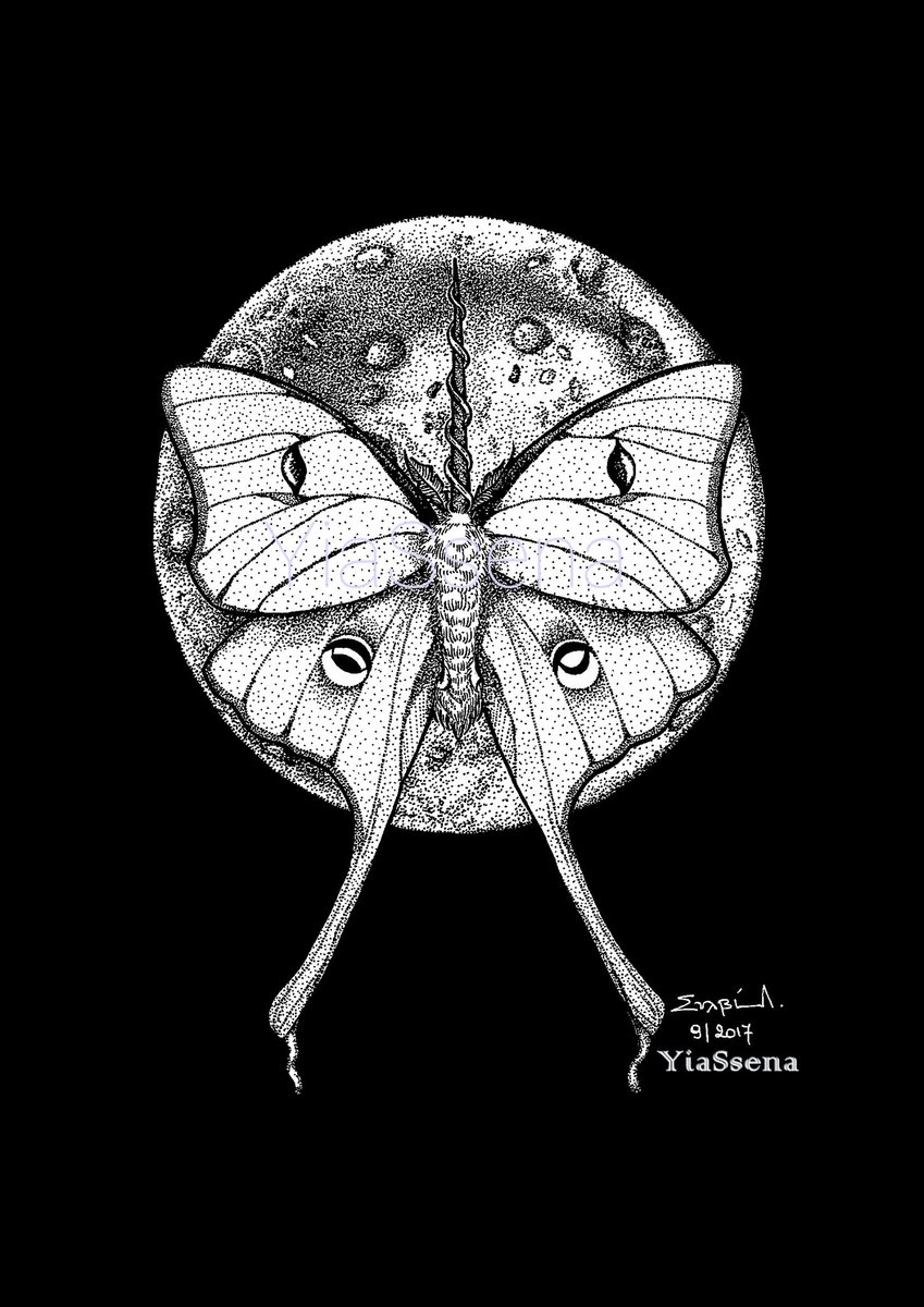 #Luna #moth #unicorn  #moon #butterfly #blackandwhite #art #creative #sketch #pointillism #dots #prints #artistsontwitter #artistsupport #artistsoninstagram ll