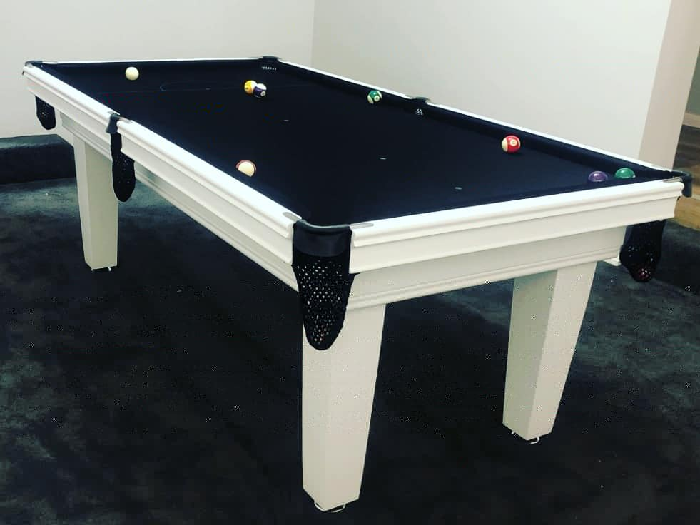 Just admire this black and white combination in the 7ft Master Style Billiard Table  we built for our client. With tapered legs, black nets with no tassel and chrome fittings, this table has the look! #billiardtable #gamesrooms #blackandwhite #luxury #chic  #pooltable🎱