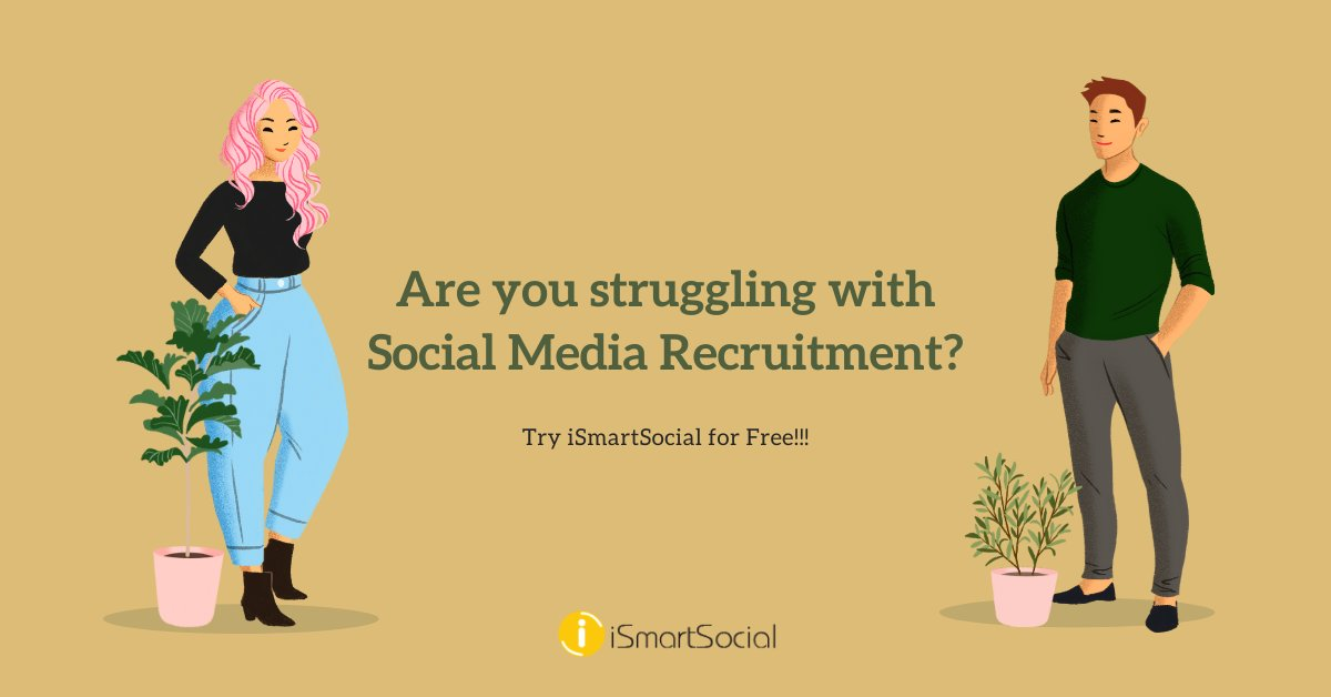 Are you struggling with recruitment? Don't Worry, #iSmartSocial is here to help you. Try iSmartSocial for FREE!  https:// bit.ly/2VOXYXl     #recruitment #recruitmentsoftware #Humanresources #recruitment2020 #hiring2020 #hr #staffingagency #staffingsolutions #hiringtrends #hiring<br>http://pic.twitter.com/I0Diaw3Tmr
