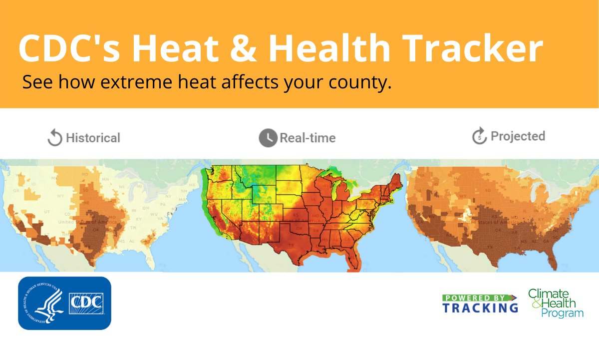 CDC's Heat & Health Tracker provides #data & info to help communities prepare for and respond to extreme heat events. Learn more: bit.ly/CDCHeatTracker.