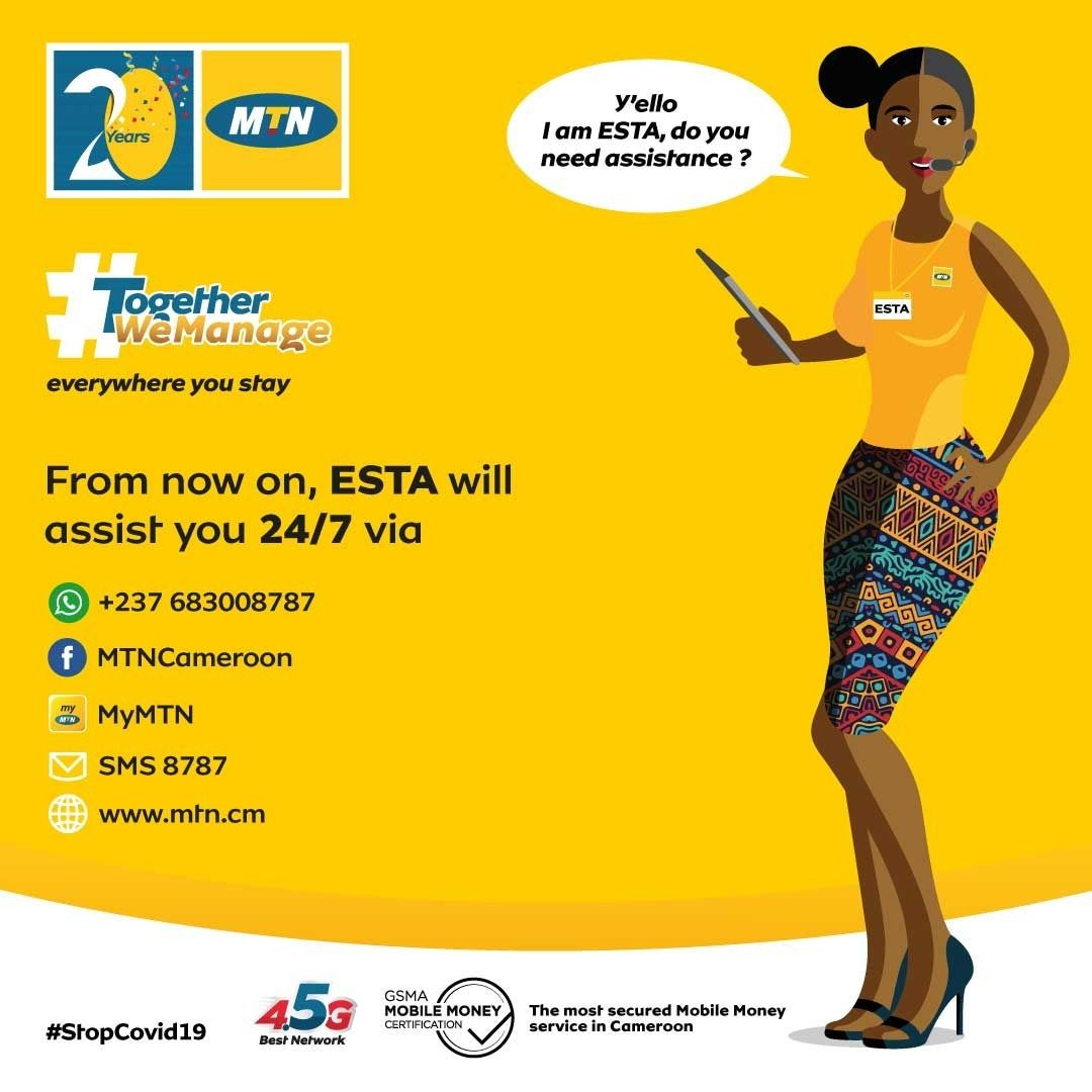 Yello! From your home, call ESTA and watch her handle everything for you. By all means, express your issues and send in your requests 24/7. With ESTA, no need to go to any MTN agency😉 #StopCOVID19 #20YearsTogether #TogetherWeManage https://t.co/mWTX5XyMzQ