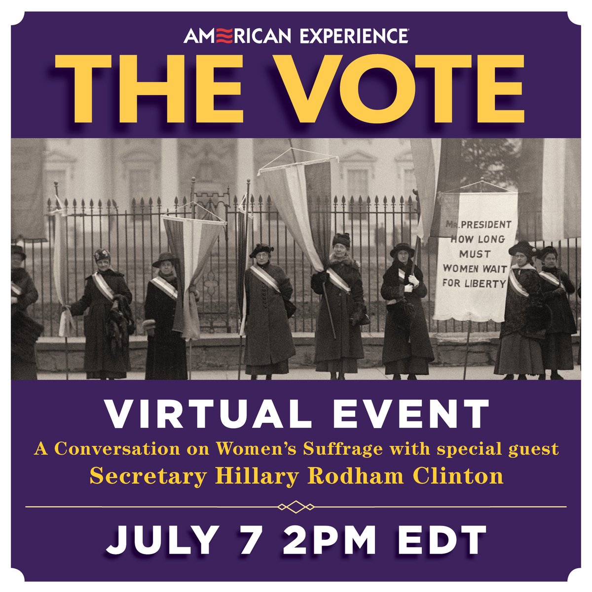 Starting shortly:   To celebrate the release of @AmExperiencePBS's #TheVotePBS, I'll be joining a conversation with historians, writers, and filmmakers about lessons for 2020 we can draw from the movement for women's suffrage.   Join us at 2pm ET: https://t.co/YUlVfPQ18K https://t.co/bJ9llD0x93