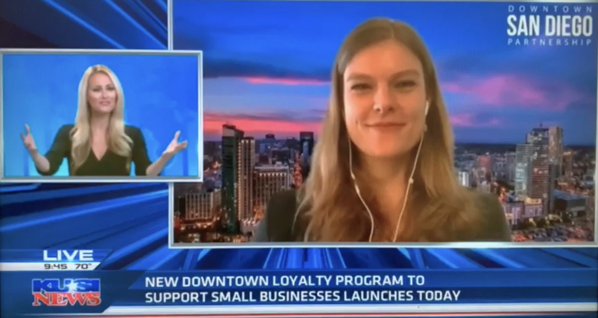 Thanks @KUSI_GMSD & @LaurenKUSI for having us on to talk about the Downtown Loyalty store launch today at noon! You can get your $25 gift card w/ free $10 bonus to spend at your fave downtown small biz. Revenue from sales go directly to your biz of choice. https://t.co/aKMZ6rNXtm https://t.co/pkm1GiWmv7