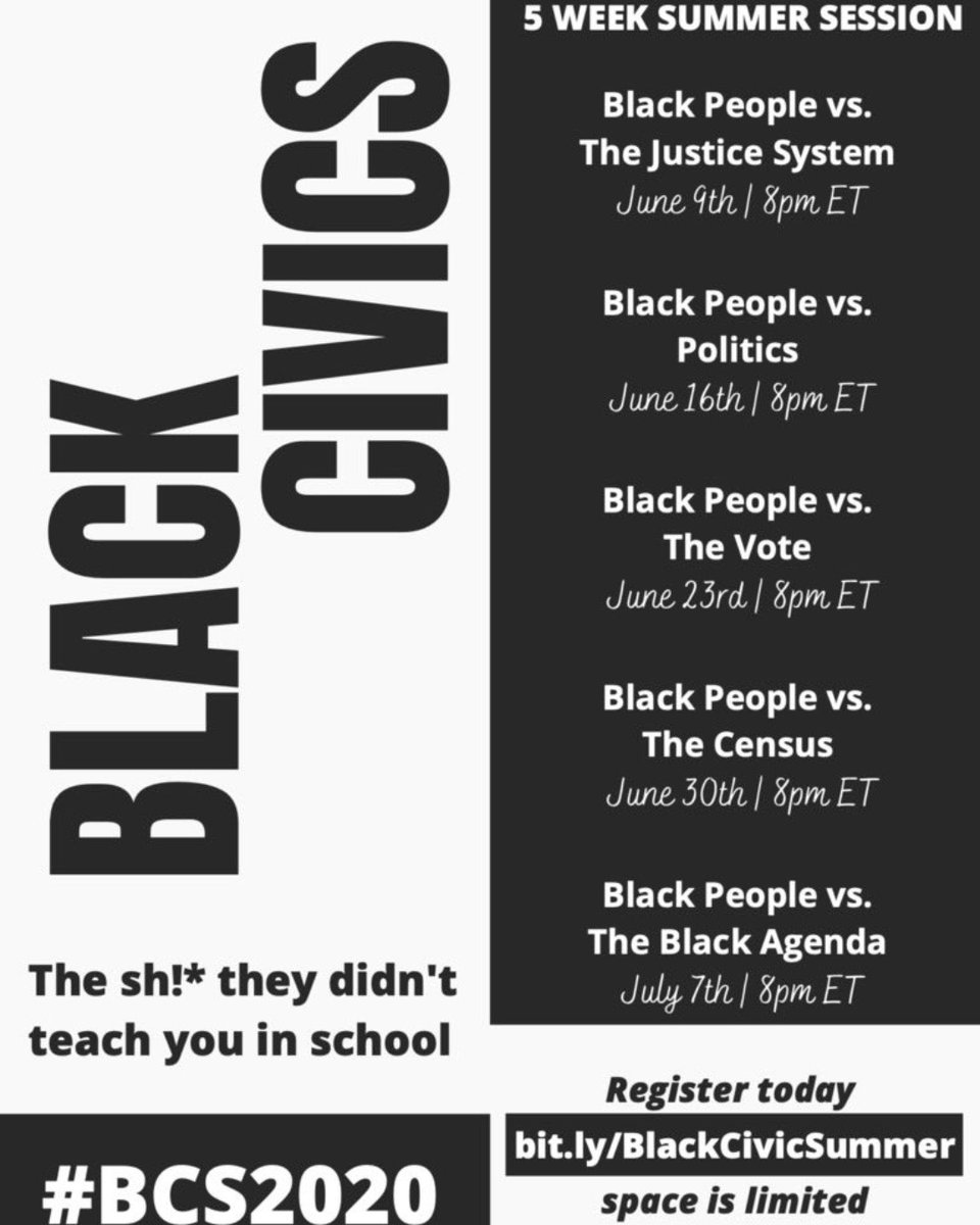 "Last chance to catch @NAACPYC_ Black Civics Summer: ""The Sh*t You Should've Learned in School"" with Black People vs. The Black Agenda #BCS2020 - https://t.co/mP3GRzr4Nm https://t.co/3Y9S0BGbbd"
