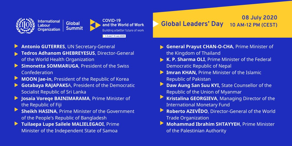 8 July, #ILOSummit, The Global Leaders Day.    Watch Heads of State and government, and prominent global employers' and trade union leaders talk about the challenges and opportunities of the pandemic in the world of work.  🔗https://t.co/eWLtoGgmn2 🗺️#betterfutureofwork https://t.co/LYgLBFHd1r