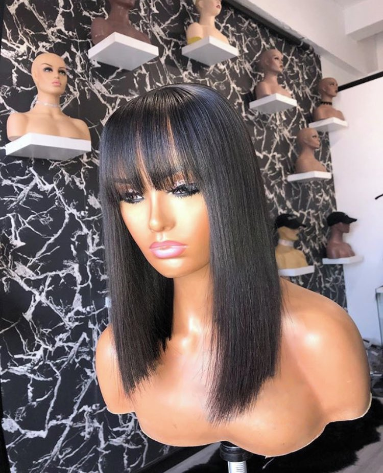 """PLEASE RETWEET   These hairs are available,buy for your gf,friend,mom,sisters and everylady that's worth it,  Frame1:12"""" humanhair straight fringe available, 25k  Frame2:humanhair frontal wig available in 20"""",40k  Frame3:14""""straight frontal,26k  Frame4:10""""fringe,18k pic.twitter.com/MjDv9VD5z8"""