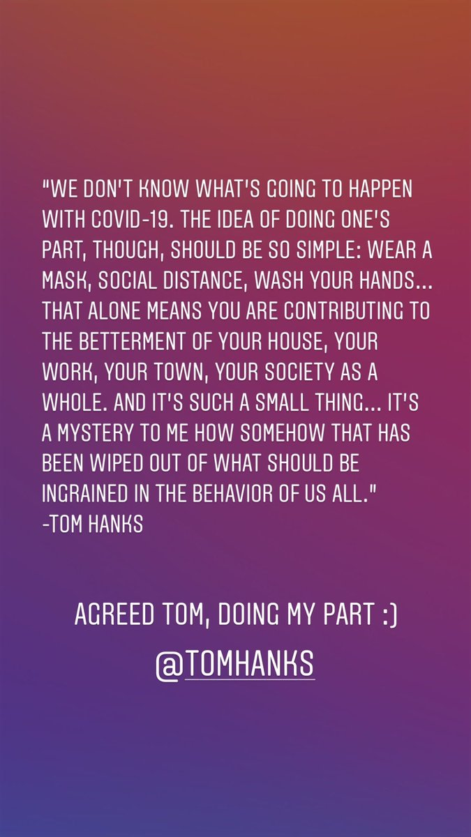 #ThanksHanks @tomhanks states it simply about how we can do our part during this #COVIDー19 crisis. #tomhanks #doourpart #itseasy https://t.co/nJNSSPImhu