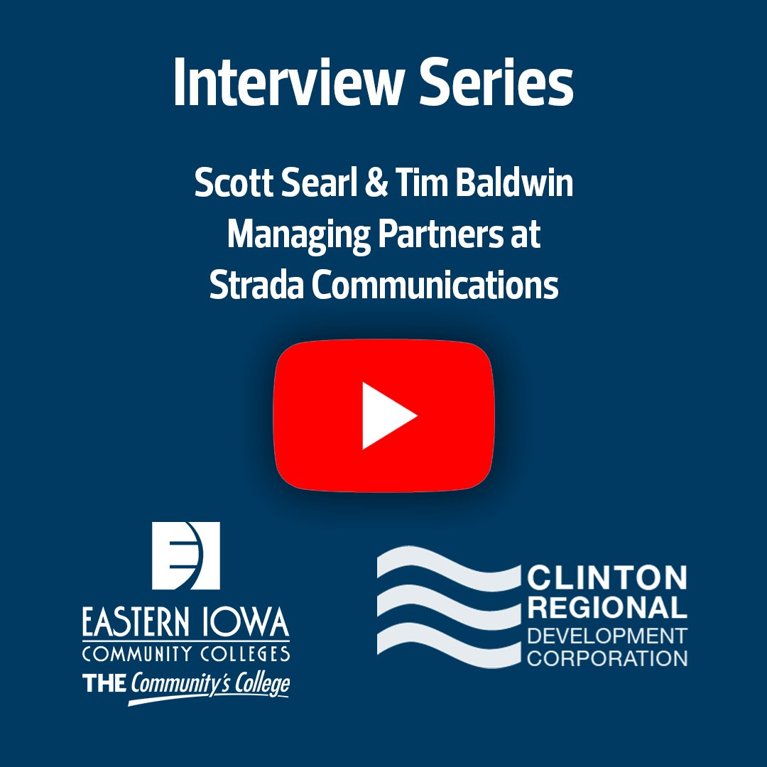 We've got another episode in the EICC/CDRC Interview series. Andy Sokolovich (CRDC) and Christine Caves (EICC) are talking with Scott Searl & Tim Baldwin, Managing Partners at Strada Communications #THECommunitysCollege #ClintonIowa #ChooseClintonIowa https://t.co/XIjarNYdWb https://t.co/DATudSEzfY