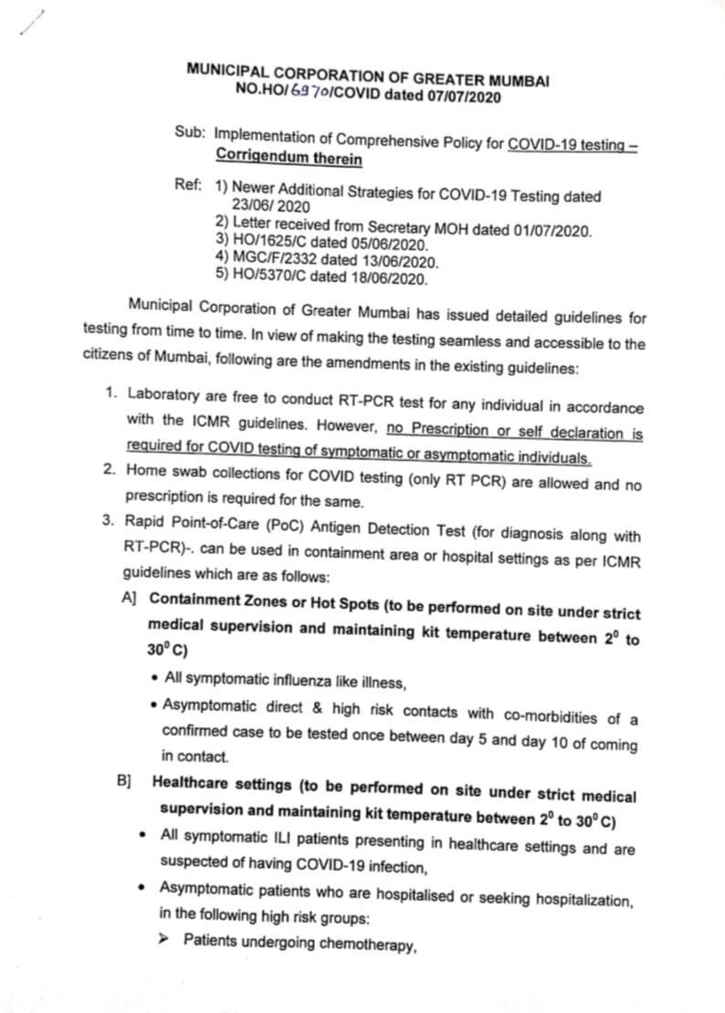 BMC issues COVID19 testing guidelines, allows people to undergo COVID testing at private labs without any doctors prescription, issues a list of 17 private labs where they can avail this facility.