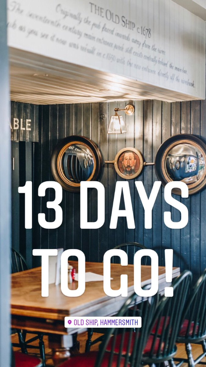 13 days 2 go now, oh my the days r flying bye till we return.  Dowloand our On Tap app📱ahead of ur visit 2 order/pay. #openingday #youngs #gin #thirsty #oldshiphammersmith #foodporn #foodie #hammersmith #chiswick #westlondon #pub #drink  #riverpub #local #dogfriendly #youngspubs https://t.co/rhtK1EM0I8