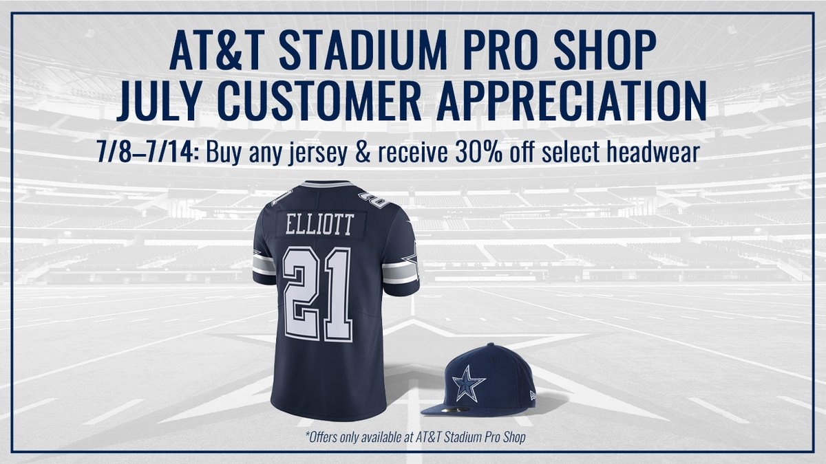 #CowboysNation, NOW through July 14th 🗣 Buy any @DallasCowboys jersey & receive 30% off select headwear at our #ATTStadium Pro Shop❕