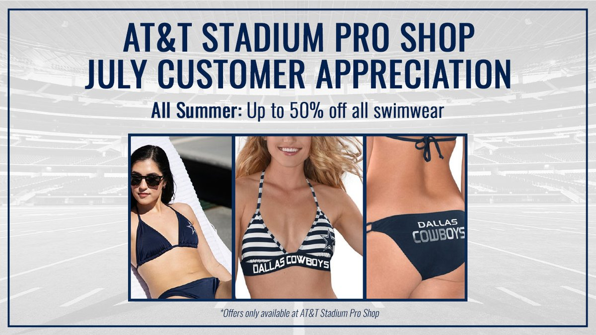 #CowboysNation 🗣 ALL summer long, get up to 50% off all swimwear when you shop at our #ATTStadium Pro Shop❕