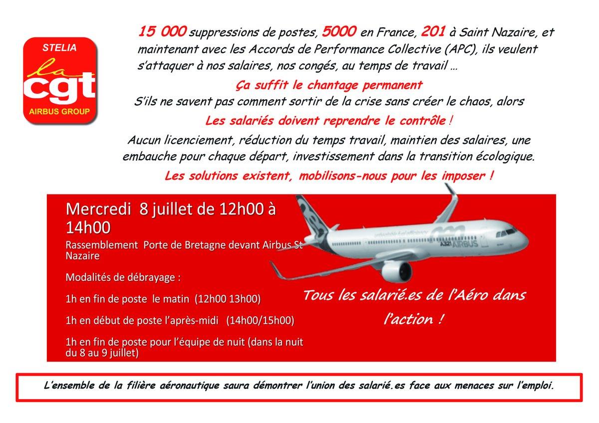 Pour la défense des emplois dans l'aéronautique !  #Cgt #Cgt44 #Airbus #StNazaire #8juillet https://t.co/7FwMGg7IKD