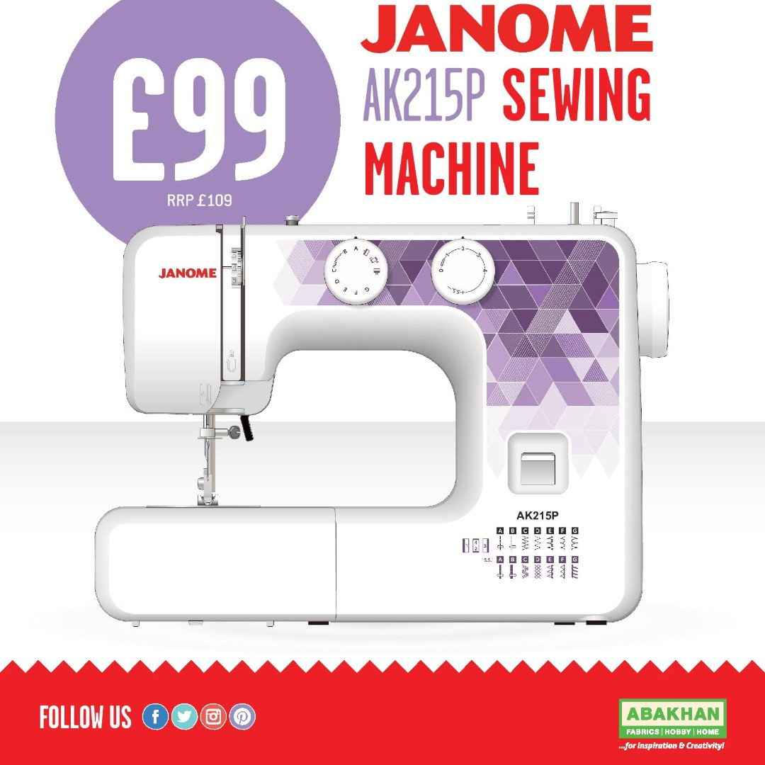 £99 SALEEEEE - £99 Janome AK215P Sewing Machine - Starts on Wednesday!  ~ ALL Stores & Website   ~ RRP £109 ~ Abakhan Exclusive ~ No-Brainer #abakhan #janome #sewingmachine #sewersofinstagram #sewing #sewingproject<br>http://pic.twitter.com/OoyzZYkAcM